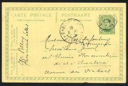 Belgique - Obl.fortune 1919 - Obl. LOBBES Année Ajoutée  + Cachet BELGIQUE*3*BELGIE Année Cachée - Fortuna (1919)