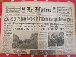 Journal Le Matin Du 20 Septembre 1939. Pologne Varsovie Guerre Censure Gamelin - Newspapers