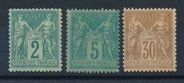 "DP-477: FRANCE: Lot Avec ""SAGE"" Avec N°74*-75*-80* - 1876-1898 Sage (Type II)"