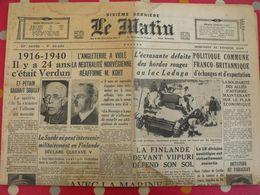 Journal Le Matin Du 21 Février 1940. Russie Finlande Roosevelt Pétain Guerre - Newspapers