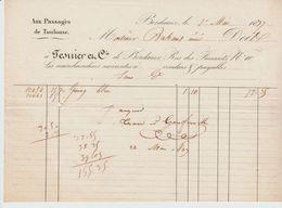"""BORDEAUX: FESNIER & Cie, Mercerie """" Aux Passages De Toulouse / Fact De 1837 - Textilos & Vestidos"""