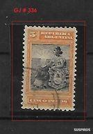 ARGENTINA  1899/ 1903 GJ # 236 WM F LIBERTAD CON ESCUDO   5 PESOS.Allegory, Liberty Seated USED - Used Stamps