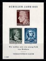 Allemagne DDR 1955 Mi. Bl. 12 Bloc Feuillet 100% Neuf ** Schiller - [6] Repubblica Democratica
