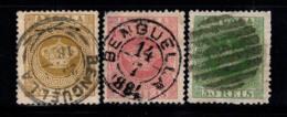 Angola 1870-81 Oblitéré 20% Couronne, 20 R, 25 R, 50 R - Angola