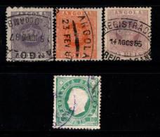 Angola 1870-86 Oblitéré 20% Couronne, 10 R, 25 R, 100 R, 200 R. - Angola