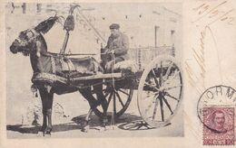 CORBILLARD, HEARSE, CARRO FUNEBRE. CPA ITALIE, CIRCULEE 1902 TAORMA - BUENOS AIRES -LILHU - Funérailles