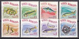 Tr_ Rumänien 1964 - Mi.Nr. 2280 - 2287 - Ungebraucht Mit Gummi Und Falzresten MH - Tiere Animals Fische Fishes - Poissons