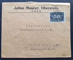 Deutsches Reich 1923, Bedarfsbrief Mi 246c (schwarzblau) OBERSTEIN Gelaufen Frankfurt - Brieven En Documenten