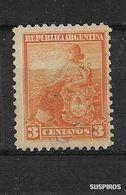 ARGENTINA  1899/ 1903 GJ #220 WM F LIBERTAD CON ESCUDO   3c .Allegory, Liberty Seated USED - Used Stamps