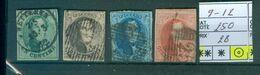 9- 12 Oblitérés Côte 250.00€ - 1858-1862 Medallions (9/12)