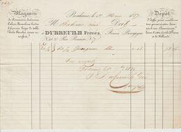 BORDEAUX: DUBREUILH Fres, Rouenneries, Indiennes, Mousselines, Rue Renières / Fact. De 1837 - Textilos & Vestidos