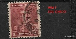 ARGENTINA 1892 -1897 San Martin    WM  SMALL SUN  1 PESO  USED - Used Stamps