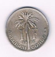 1 FRANC 1928   BELGISCH CONGO /6233/ - 1910-1934: Albert I