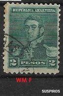 ARGENTINA 1892 -1897 San Martin    WM  SMALL SUN  2 PESOS USED - Used Stamps