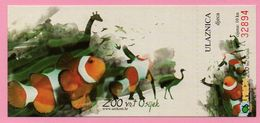 Ticket / Postcard - ZOO Garden - Fish Clown (Amphiprion Ocellaris, Osijek, Croatia - Not Used ! - Eintrittskarten