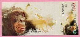 Ticket / Postcard - ZOO Garden - Chimpanzee Monkey (Pan Troglodytes), Osijek, Croatia - Not Used ! - Eintrittskarten