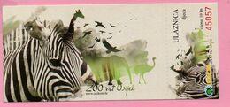 Ticket / Postcard - ZOO Garden - Zebra (Equus Burchelli Granti), Osijek, Croatia - Not Used ! - Eintrittskarten