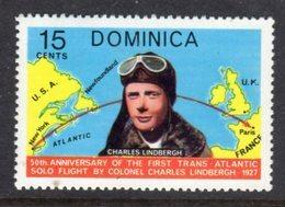 DOMINICA - 1978 AVIATION ANNIVERSARY LINDBERGH 15c STAMP FINE MNH ** SG606 - Dominique (...-1978)