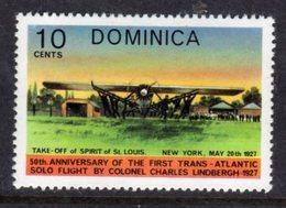 DOMINICA - 1978 AVIATION ANNIVERSARY LINDBERGH 10c STAMP FINE MNH ** SG605 - Dominique (...-1978)