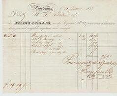 BORDEAUX: BERGE Fres, Blancs, Calicots, Rue Des Argentiers / Fact De 1837 - Textilos & Vestidos