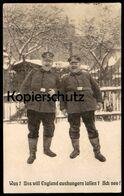 ALTE POSTKARTE MILITÄR 1. WELTKRIEG SOLDAT PROPAGANDA UNS WILL ENGLAND AUSHUNGERN Übergewicht Overweight Adipositas Cpa - Guerre 1914-18