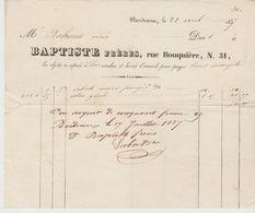 BORDEAUX: BAPTISTE Fres, Articles Textiles, Rue Bouquière / Fact De 1837 - Francia