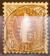 Schweiz Suisse 1891: 14 Vertikalzähne KZ I Zu 72A Mi 64XA Yv 80  3 Fr Braun Mit O CHAUX-DE-FONDS 24.VI.99 (Zu CHF 29.00) - Gebraucht