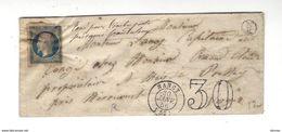 Lettre Taxe 30 Timbre Présumé Frauduleux Nancy 3.1.1856 Faux Pour Tromper La Poste ? - 1853-1860 Napoleon III