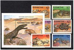 Kazakhstan 1994 . Reptiles. 6v + S/S: 1, 1.2, 2, 3, 5, 7 + 10 (T).   Michel # 51-56 Bl. 2 - Kazajstán