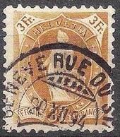 Schweiz Suisse 1891: 14 Vertikalzähne KZ I Zu 72A Mi 64XA Yv 80  3 Fr Braun GENÈVE RUE DU STAND 20.XII.94 (Zu CHF 29.00) - Gebraucht