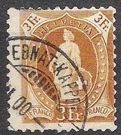 Schweiz Suisse 1891: 14 Vertikalzähne KZ I Zu 72A Mi 64XA Yv 80  3 Fr Braun Mit O EBNAT-KAPPEL ?.II.00 (Zu CHF 29.00) - Gebraucht