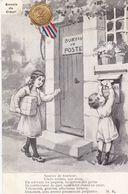 """MILITARIA.GUERRE 1914-18.ILLUSTRATION ."""" ENVOIS DU COEUR """". ENFANTS A LA POSTE .ENVOIS AUX SOLDATS .+ TEXTE ANNEE 1917 - Guerre 1914-18"""