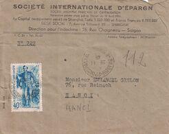 INDOCHINE - SAIGON PRINCIPAL POUR HANOI - LETTRE ENTETE DU 28-11-1945 - 40c SEUL SUR LETTRE - COTE 25€ - Indochine (1889-1945)