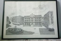 Litografia Numerata Piazza Della Borsa Napoli Di Teresa Maldana 71 X 52 Cm - Lithographies