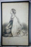 Stampa Antica Giovane Donna In Preghiera In Cornice 56 X 36 Cm - Prints