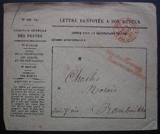 1865 Enveloppe Des Rebuts, Lettre Renvoyée à Son Auteur (N°825) Cachet Rouge + Cursive , Pour Rambouillet, Voir Photos - 1849-1876: Klassieke Periode
