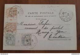 Double Millésime Avec Interpanneau 1903 Sur CP - Paris Pour Tonkin, Hung-Yen - 2 X Paire De TP Type Blanc N°110 Et 107 - 1877-1920: Période Semi Moderne