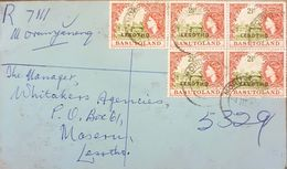 Lesotho 1967 Registered Letter Franked With 5 2.5c Basutoland Overprinted Stamps - Lesotho (1966-...)