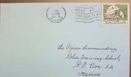 Lesotho 1967 Registered Machine Cancelled  Letter Franked With 1p Lesotho Overprint On Basutoland Stamp - Lesotho (1966-...)