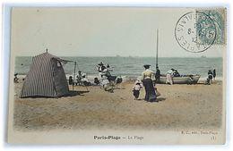 Paris-Plage - Carte Animée - Famille à La Plage, Bateau/Barque - Edit. E.C., Paris-Plage - Le Touquet