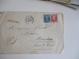 Lettre Chargee Timbre Empiree Franc 80 C Et 20 C Grille Chargement De Paris A Meulan - 1849-1876: Periodo Classico