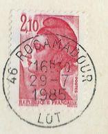 Liberté De Gandon 2,10F Rouge Sur Carte Postale De Dordogne Oblitérée De Roc Amadour (Lot) Avec Petite Variété - Varieties: 1980-89 Covers & Documents