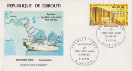 Enveloppe  FDC   1er  Jour    REPUBLIQUE   De   DJIBOUTI    Cable   Sous - Marin    SEA - ME - WE    1986 - Djibouti (1977-...)