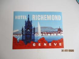Geneve Hotel Richmond Etiquette Hotel Valise Luggage - Etiquettes D'hotels