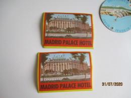 Lot De 2 Madrid Palace Hotel Etiquette Hotel Valise Luggage - Etiquettes D'hotels