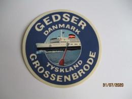 Paquebot Danemark Krossenbrode Gedser  Etiquette Hotel Valise Luggage - Etiquettes D'hotels