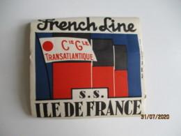 Paquebot S S Ile De France French Line  Etiquette Hotel Valise Luggage - Etiquettes D'hotels