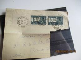 Car Postal Automobile Obliteration Paire Timbre  Mermoz 30 C Sur Fragment - 1921-1960: Periodo Moderno