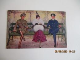 Femme Elegante  Militaire Marine  Infanterie Concentration De Feux - Fantasia