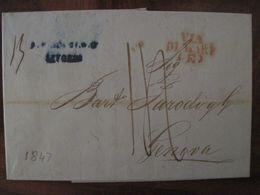 1847 Allemagne Reich Vorphila Préphilatelie Genova Genes Italie Via Di Mare Livourne Livorno - 1. ...-1850 Prefilatelia
